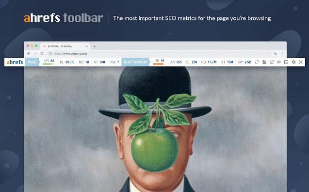 Ahrefs toolbar screen