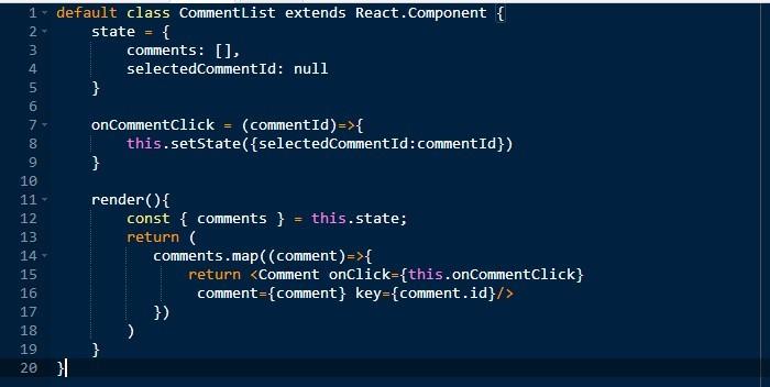 React app code snippet