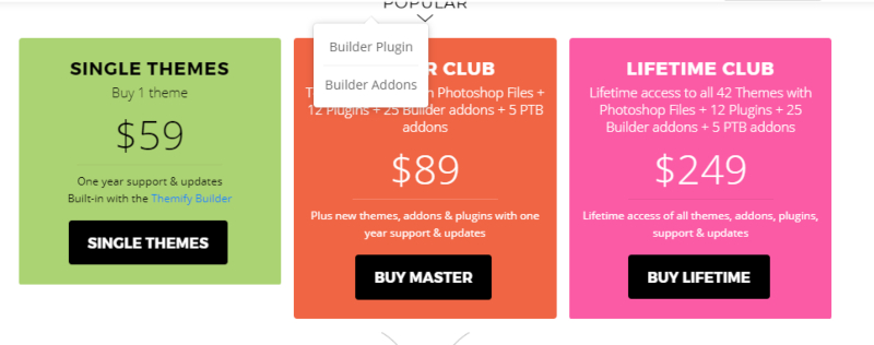 Themify Builder pricing