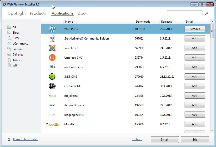 Microsoft Web Platform Installer 4.5